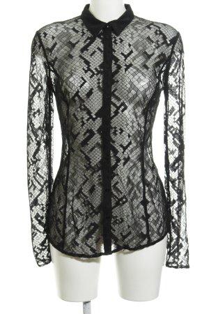 Guess Blusa transparente negro Apariencia de encaje