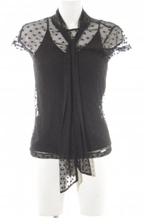 Guess Transparenz-Bluse schwarz Sternenmuster Party-Look