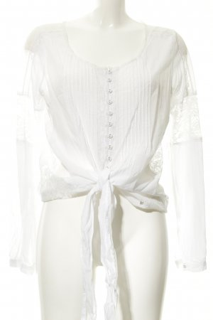 Guess Transparenz-Bluse weiß Romantik-Look
