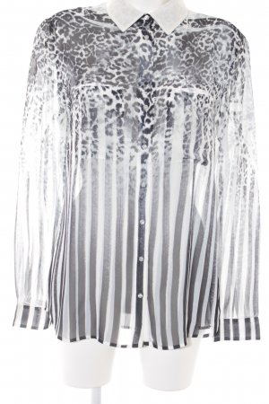 Guess Transparenz-Bluse weiß-schwarz Leomuster Animal-Look