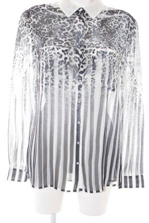 Guess Blusa transparente blanco-negro estampado de leopardo estampado animal