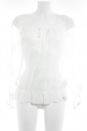 Guess Transparent Blouse natural white floral pattern classic style