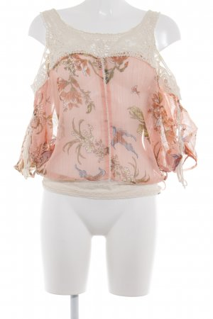Guess Transparenz-Bluse wollweiß-rosé florales Muster Beach-Look