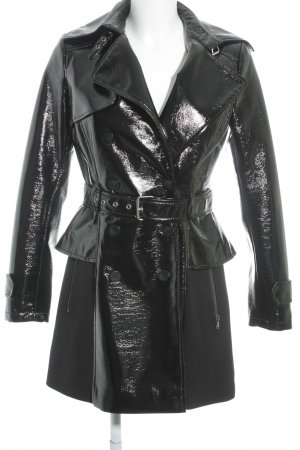 Guess Trenchcoat schwarz Materialmix-Look