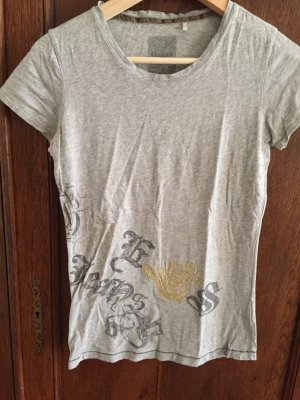 Guess Camiseta gris claro-color oro