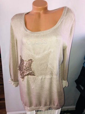 Guess Tunika Bluse in gr 42 Farbe Beige Stern Strass