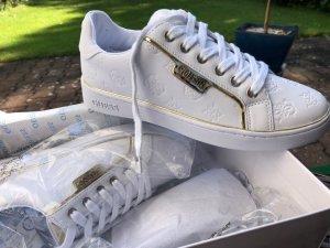 Guess Sneaker stringata bianco-oro