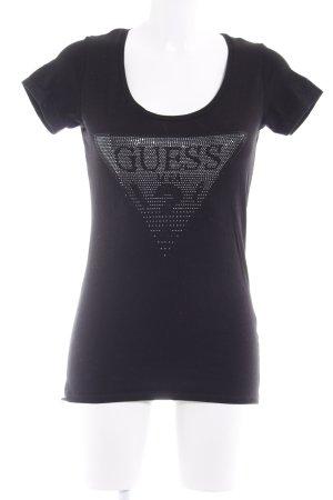 Guess U-Boot-Shirt schwarz-silberfarben Glitzersteinverzierung