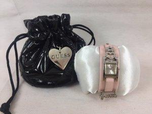 Guess Orologio con cinturino di pelle argento-rosa chiaro