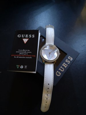 Guess Watch With Leather Strap white stainless steel