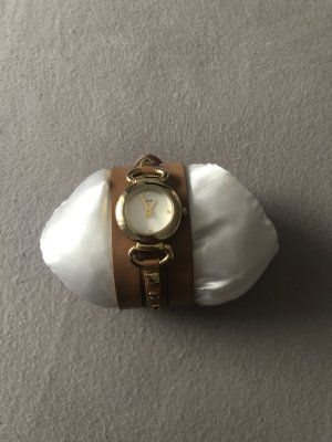 Guess Reloj con pulsera de cuero beige-color oro