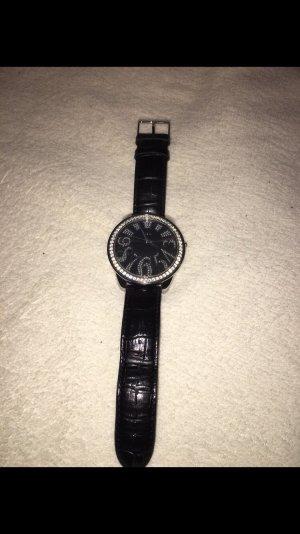 Guess Reloj negro-color plata
