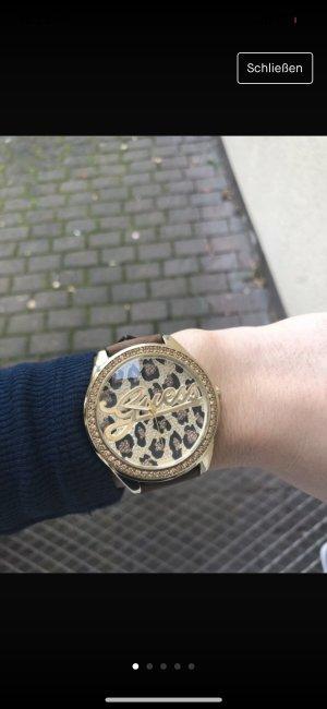 Guess Reloj con pulsera de cuero color oro