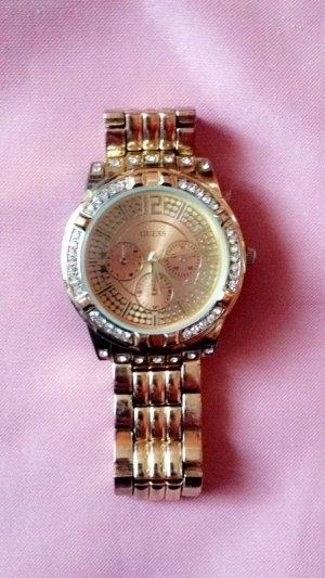 Guess Uhr in Gold mit Glitzer
