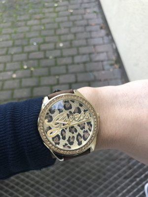 Guess Uhr mit Leopardenziffernblatt , gold, wie neu