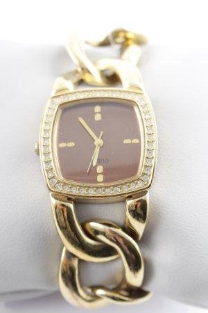 Guess Horloge met metalen riempje goud-bruin elegant