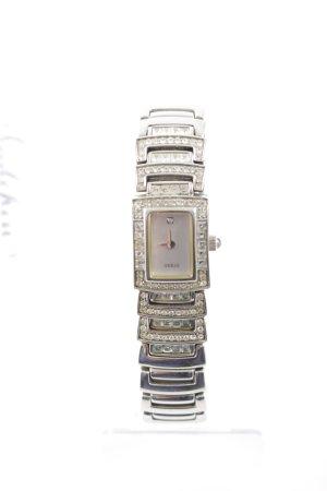 Guess Uhr mit Metallband silberfarben Glitzersteinverzierung