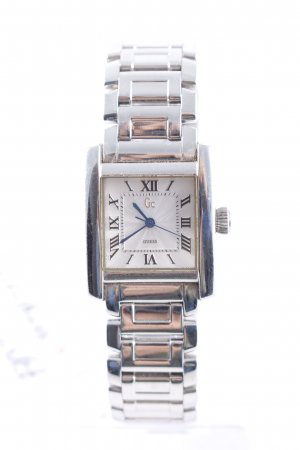 Guess Watch With Metal Strap silver-colored-cadet blue street-fashion look