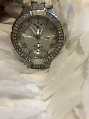 Guess Reloj con pulsera de cuero blanco-color plata