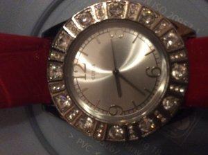 Guess Reloj con pulsera de cuero color plata-rojo claro acero inoxidable