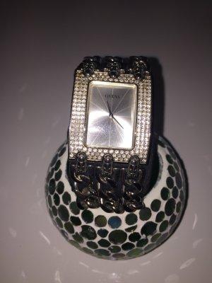 Guess Uhr Silber mit Glitzersteinchen