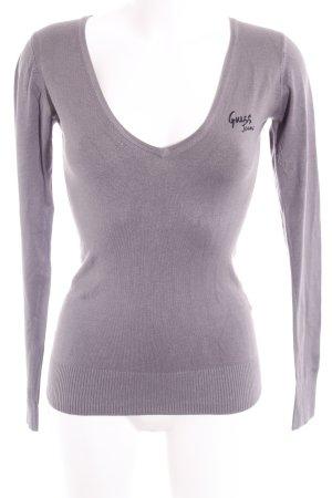 Guess V-Ausschnitt-Pullover grau Casual-Look