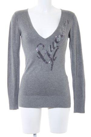 Guess V-Ausschnitt-Pullover hellgrau meliert Casual-Look
