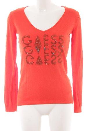 Guess V-Ausschnitt-Pullover neonorange Schriftzug gedruckt Casual-Look
