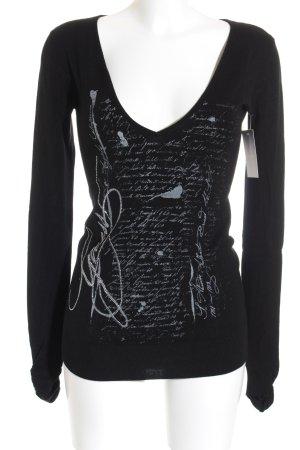 Guess V-Ausschnitt-Pullover schwarz Casual-Look