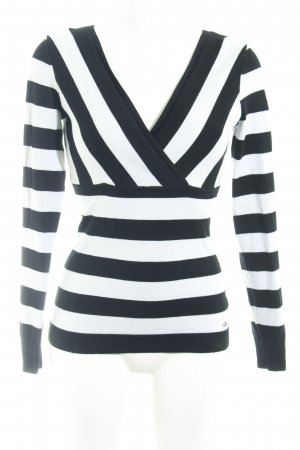 Guess V-Ausschnitt-Pullover schwarz-weiß Streifenmuster Casual-Look