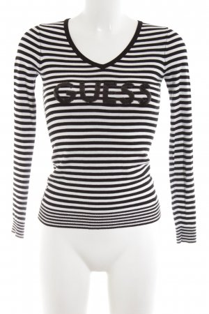 Guess V-Neck Sweater white-black printed lettering casual look