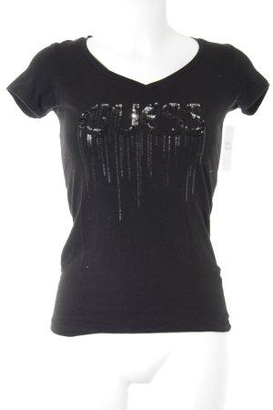 Guess V-Ausschnitt-Shirt schwarz Casual-Look