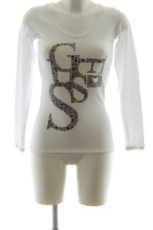 Guess V-Ausschnitt-Shirt weiß Casual-Look
