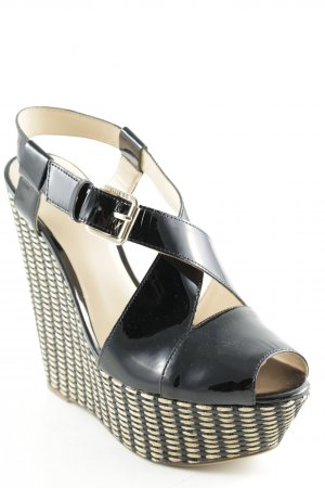 Guess Wedge Sandals black-beige weave pattern beach look