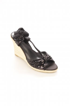 Guess Wedges Sandaletten schwarz-creme Beach-Look