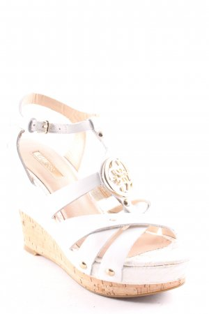 Guess Sandalias tipo cuña blanco-color oro look casual