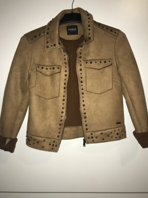 Guess Faux Leather Jacket bronze-colored