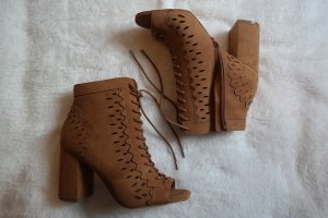 Guess High-Heeled Sandals cognac-coloured-brown suede