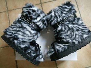 Guess Botas de invierno blanco-negro tejido mezclado