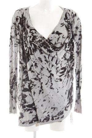 Guess Jersey de lana gris claro-negro estampado con diseño abstracto