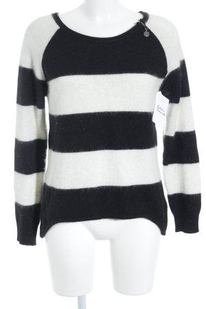 Guess Jersey de lana blanco puro-negro estampado a rayas look casual