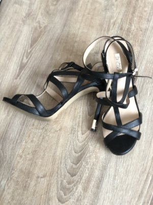 GUESS Women's Black Carnney Leather Strappy Sandals
