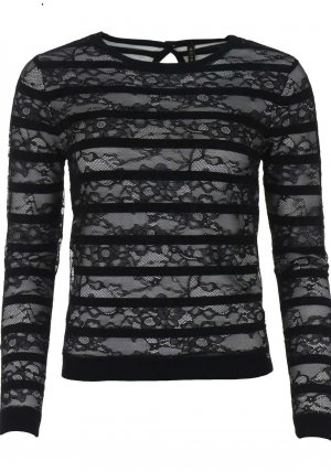 Guess Womens Lara Lace Striped Knitted Sweater, Black 40-42