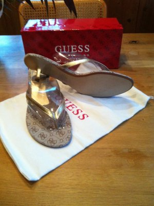 Guess by Marciano High-Heeled Toe-Post Sandals sand brown-gold-colored