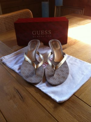 Guess High-Heeled Toe-Post Sandals gold-colored leather