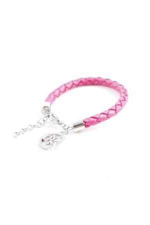 Guido Maria Kretschmer Armband silberfarben-pink Zopfmuster Casual-Look