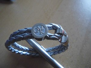 Guido Maria Kretschmer Leather Bracelet silver-colored