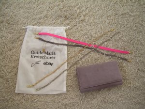 Guido Maria Kretschmer Handtasche Clutch Taupe-Mauve-farben aus Leder 4 Henkel
