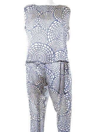 Guido Maria Kretschmer Hosenanzug blau-creme abstraktes Muster Elegant