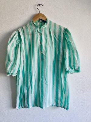 Gestreept shirt wit-munt
